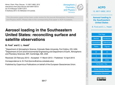 Aerosol Loading in the Southeastern Unit... by Ford, B.