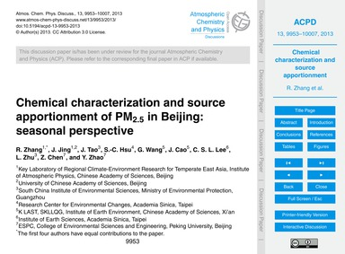 Chemical Characterization and Source App... by Zhang, R.