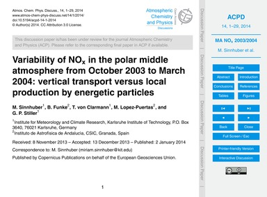 Variability of NoX in the Polar Middle A... by Sinnhuber, M.