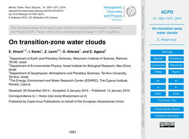 On Transition-zone Water Clouds : Volume... by Hirsch, E.