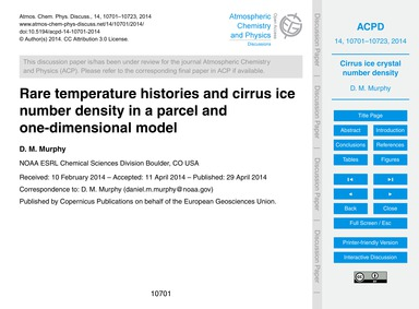 Rare Temperature Histories and Cirrus Ic... by Murphy, D. M.