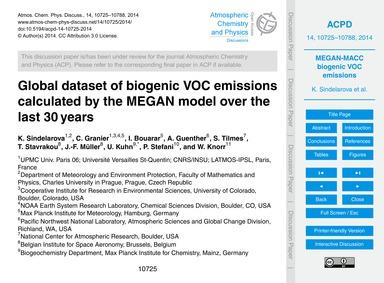 Global Dataset of Biogenic Voc Emissions... by Sindelarova, K.