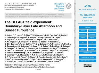 The Bllast Field Experiment: Boundary-la... by Lothon, M.