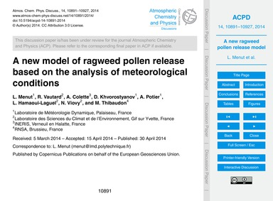 A New Model of Ragweed Pollen Release Ba... by Menut, L.