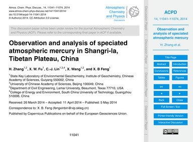 Observation and Analysis of Speciated At... by Zhang, H.