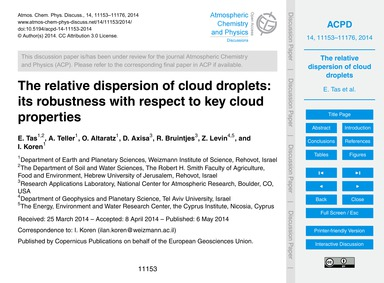 The Relative Dispersion of Cloud Droplet... by Tas, E.