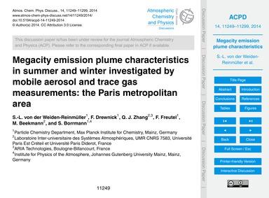 Megacity Emission Plume Characteristics ... by Von Der Weiden-reinmüller, S.-l.