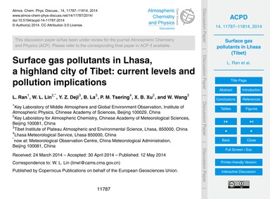 Surface Gas Pollutants in Lhasa, a Highl... by Ran, L.