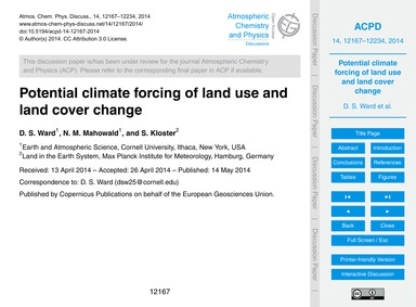 Potential Climate Forcing of Land Use an... by Ward, D. S.