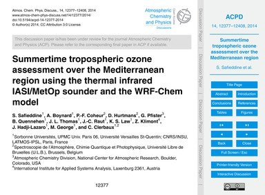 Summertime Tropospheric Ozone Assessment... by Safieddine, S.