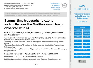 Summertime Tropospheric Ozone Variabilit... by Doche, C.