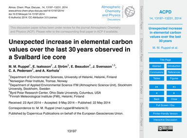 Unexpected Increase in Elemental Carbon ... by Ruppel, M. M.