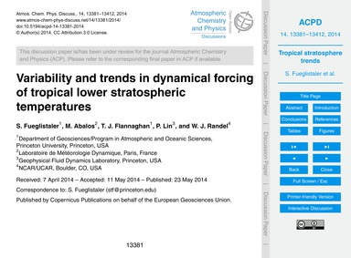 Variability and Trends in Dynamical Forc... by Fueglistaler, S.