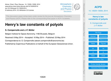 Henry's Law Constants of Polyols : Volum... by Compernolle, S.