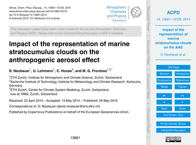 Impact of the Representation of Marine S... by Neubauer, D.