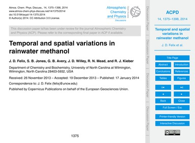 Temporal and Spatial Variations in Rainw... by Felix, J. D.