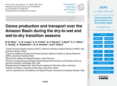 Ozone Production and Transport Over the ... by Bela, M. M.