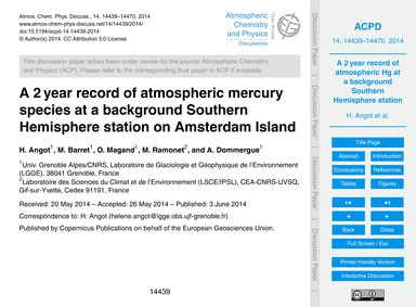 A 2 Year Record of Atmospheric Mercury S... by Angot, H.