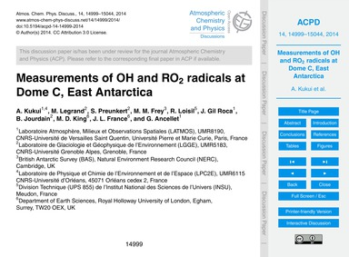 Measurements of Oh and Ro2 Radicals at D... by Kukui, A.