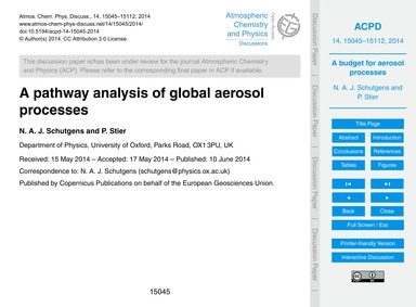 A Pathway Analysis of Global Aerosol Pro... by Schutgens, N. A. J.