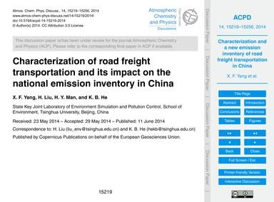 Characterization of Road Freight Transpo... by Yang, X. F.