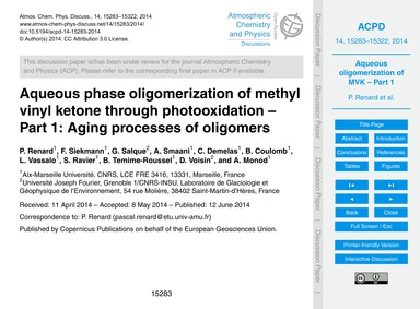 Aqueous Phase Oligomerization of Methyl ... by Renard, P.