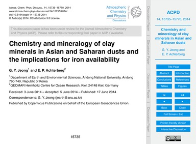 Chemistry and Mineralogy of Clay Mineral... by Jeong, G. Y.