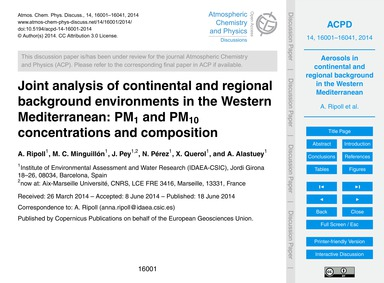 Joint Analysis of Continental and Region... by Ripoll, A.