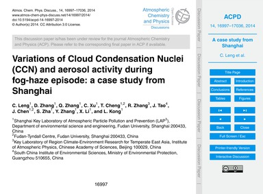 Variations of Cloud Condensation Nuclei ... by Leng, C.