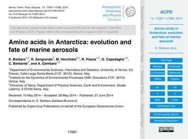 Amino Acids in Antarctica: Evolution and... by Barbaro, E.