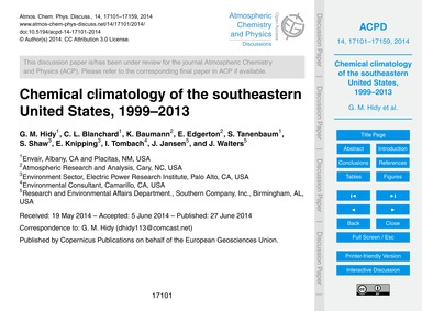 Chemical Climatology of the Southeastern... by Hidy, G. M.