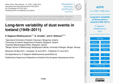 Long-term Variability of Dust Events in ... by Dagsson-waldhauserova, P.