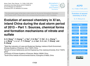 Evolution of Aerosol Chemistry in Xi'An,... by Wang, G. H.