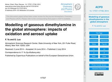 Modelling of Gaseous Dimethylamine in th... by Yu, F.