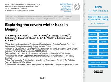 Exploring the Severe Winter Haze in Beij... by Zheng, G. J.