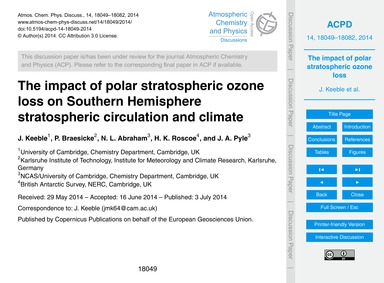The Impact of Polar Stratospheric Ozone ... by Keeble, J.