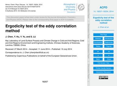 Ergodicity Test of the Eddy Correlation ... by Chen, J.