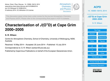 Characterisation of J(O1D) at Cape Grim ... by Wilson, S. R.