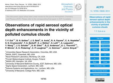 Observations of Rapid Aerosol Optical De... by Eck, T. F.