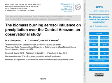 The Biomass Burning Aerosol Influence on... by Gonçalves, W. A.