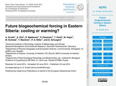 Future Biogeochemical Forcing in Eastern... by Arneth, A.