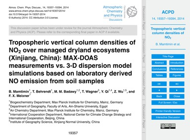 Tropospheric Vertical Column Densities o... by Mamtimin, B.