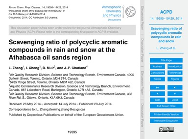Scavenging Ratio of Polycyclic Aromatic ... by Zhang, L.