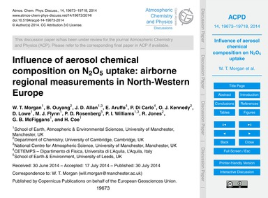 Influence of Aerosol Chemical Compositio... by Morgan, W. T.