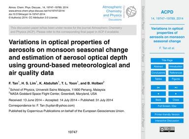 Variations in Optical Properties of Aero... by Tan, F.
