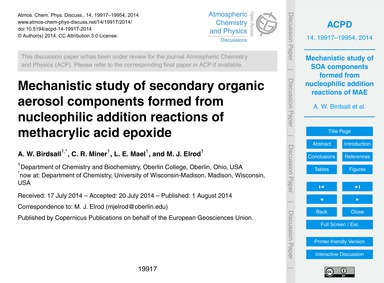 Mechanistic Study of Secondary Organic A... by Birdsall, A. W.