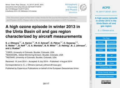 A High Ozone Episode in Winter 2013 in t... by Oltmans, S. J.