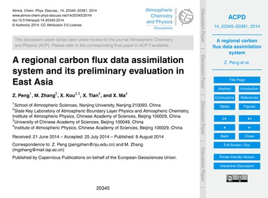 A Regional Carbon Flux Data Assimilation... by Peng, Z.