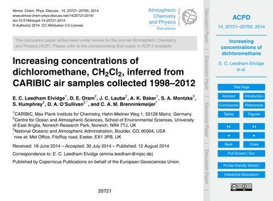 Increasing Concentrations of Dichloromet... by Leedham Elvidge, E. C.