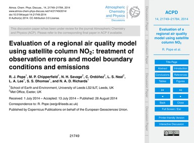 Evaluation of a Regional Air Quality Mod... by Pope, R. J.